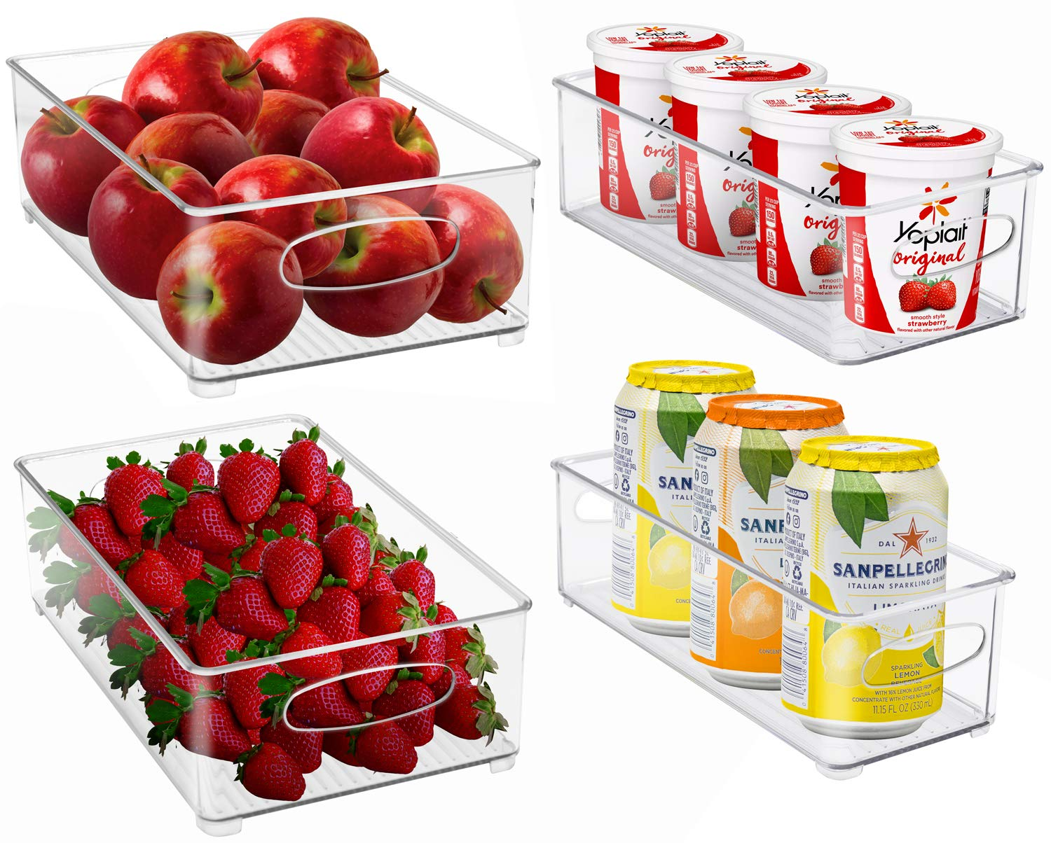 Sorbus Plastic Storage Bins Stackable Clear Pantry Organizer Box Bin Containers for Organizing Kitchen Fridge, Food, Snack Pantry Cabinet, Fruit, Vegetables, (Wide & Narrow - Pack of 4)