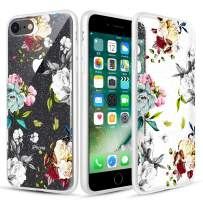 Caka Flower Case for iPhone 7 8 SE 2nd Generation Floral Case Glitter Clear Flower Pattern Teal Rose Slim Girly Premium Clarity TPU Crystal Protective Case for iPhone 7 8 SE 2020 4.7 inch (Teal White)