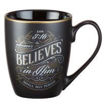"Christian Encouragement Gifts for Men – Matte Black Coffee Mug w/Metallic Font Scripture Verses ""Whoever Believes In Him"" John 3:16 – 12oz Stoneware Mug, Christian Cup w/Handle"
