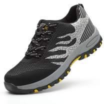 SUADEX Indestructible Work Shoes for Men Women Steel Toe Shoes Puncture Proof Safety Composite Toe Shoes Grey Black 10 Women/8.5 Men