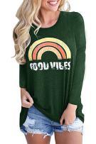 Walant Womens Long Sleeve Tops Good Vibes Rainbow Print Loose Casual T Shirt