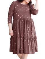 Women's Plus Size Long Sleeve Crew Casual Dot Printed Plain Dress Brick Red