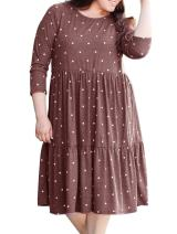 Women's Plus Size Long Sleeve Crew Casual Dot Printed Plain Dress Brick Red