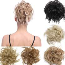 Tousled Updo Ponytail Hair Extensions Fluffy Messy Wavy Ponytails Bun Scrunchies Hairpiece Human Made 100% Real Natural Premium Synthetic Hair for Women Lady sandy brown/bleach blonde