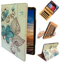 """ipad Hand Strap Case Cover for iPad 9.7"""" 5th 6th Generation 2018 2017 Air 1st 2nd Md788ll/A MRJN2LL/A MR7F2LL/A MRJP2LL/A A1474 A1893 A1954 A1822 A1823 with Sleep/Wake (Blue Flowers)"""