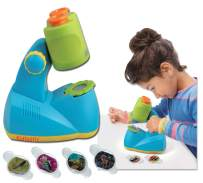 Kidtastic Microscope Science Kit for Kids – Fun Learning Toys for Preschoolers – STEM Toy for 3 Year olds – with 12 Slides Animals & Nature, 8X Zoom, LED Light – for Ages 3, 4, 5, 6 and up