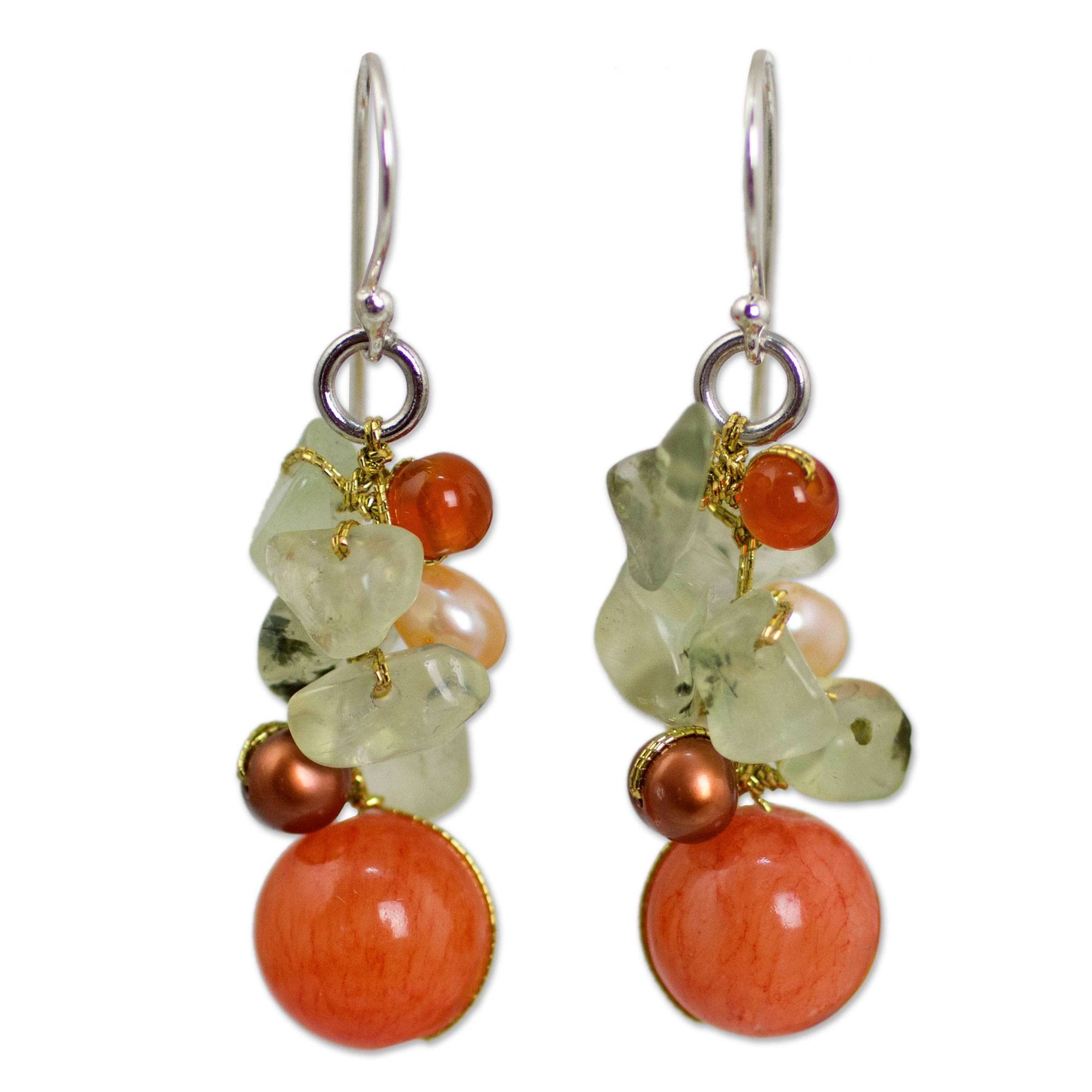 NOVICA Multi-Gem Quartz White Cultured Freshwater Pearl Silver Plated Beaded Earrings 'Spicy Peach'
