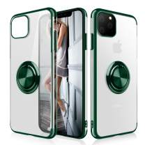 WATACHE iPhone 11 Case, Clear Crystal Ultra Slim Soft TPU Electroplated Frame Case Cover with Built-in 360 Rotatable Ring Kickstand for iPhone 11,Blackish Green