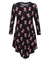 Beyove Women's Print Floral Long Sleeve Irregular Hem Party Tunic Dress - US Store