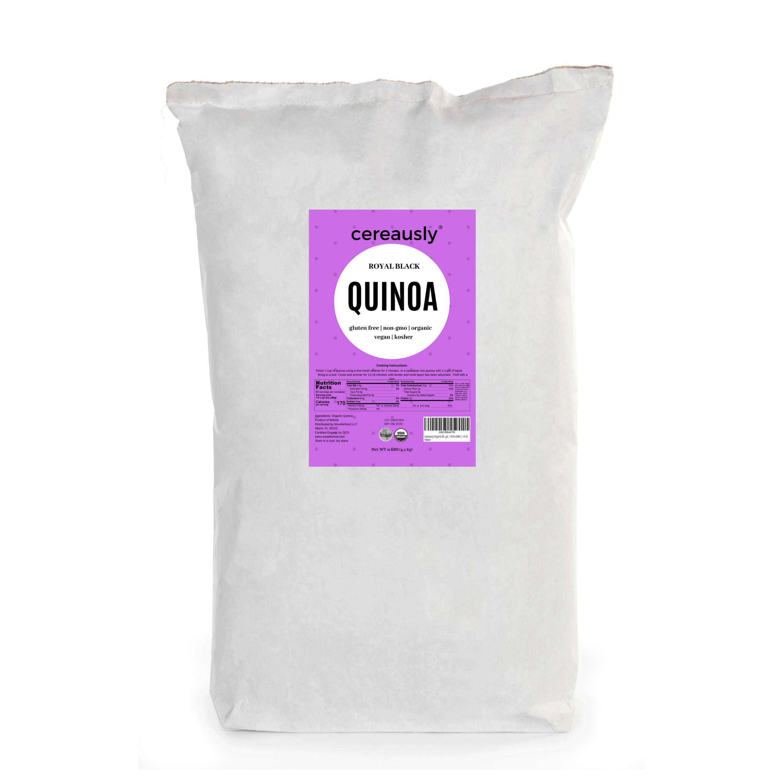 CEREAUSLY Organic Black Quinoa in Bulk   25 Lb   Restaurants   Wholesale   Bolivian   Royal   NON-GMO   Kosher   Gluten-Free   Vegan