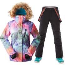 Womens Fur Hoodie Ski Jacket Bibs Waterproof Windproof Jacket Outwear
