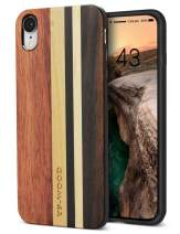 YFWOOD Compatible for iPhone XR Wood Case, Unique Luxury Natural Real Wooden Stripe Shockproof Drop Proof Slim Flexible Bumper Protective Cover for iPhone XR