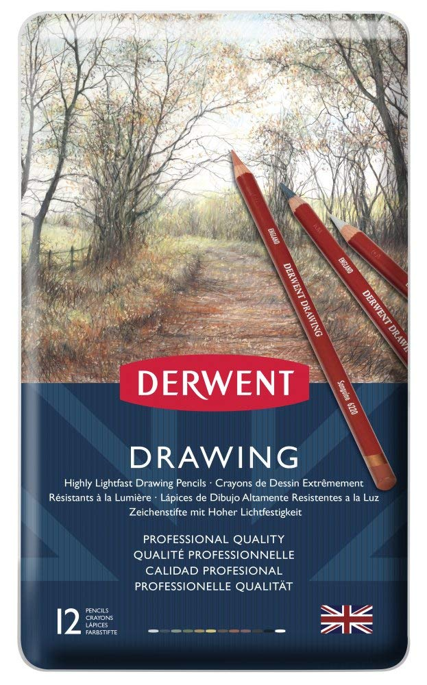 Derwent Colored Drawing Pencils, 5mm Core, Metal Tin, 12 Count (0700671)