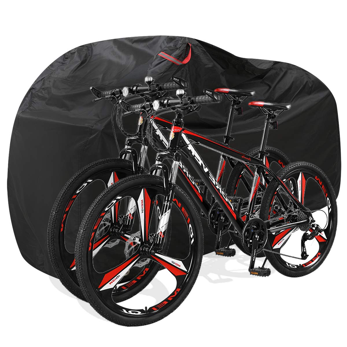 Aiskaer Bike Cover for Outdoor Bicycle Storage - Large 1, XL 1-2, XXL 2-3 Bikes - Heavy 210D Oxford Material, Waterproof & Anti-UV - Protection from All Weather Conditions for Mountain & Road Bikes