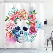 """Ambesonne Skull Shower Curtain, Funny Skull with Colorful Floral Head Victorian Style Dead Skeleton Graphic Art Print, Cloth Fabric Bathroom Decor Set with Hooks, 84"""" Long Extra, Brown White Grey"""