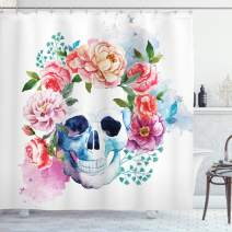 "Ambesonne Skull Shower Curtain, Funny Skull with Colorful Floral Head Victorian Style Dead Skeleton Graphic Art Print, Cloth Fabric Bathroom Decor Set with Hooks, 75"" Long, Brown White Grey"