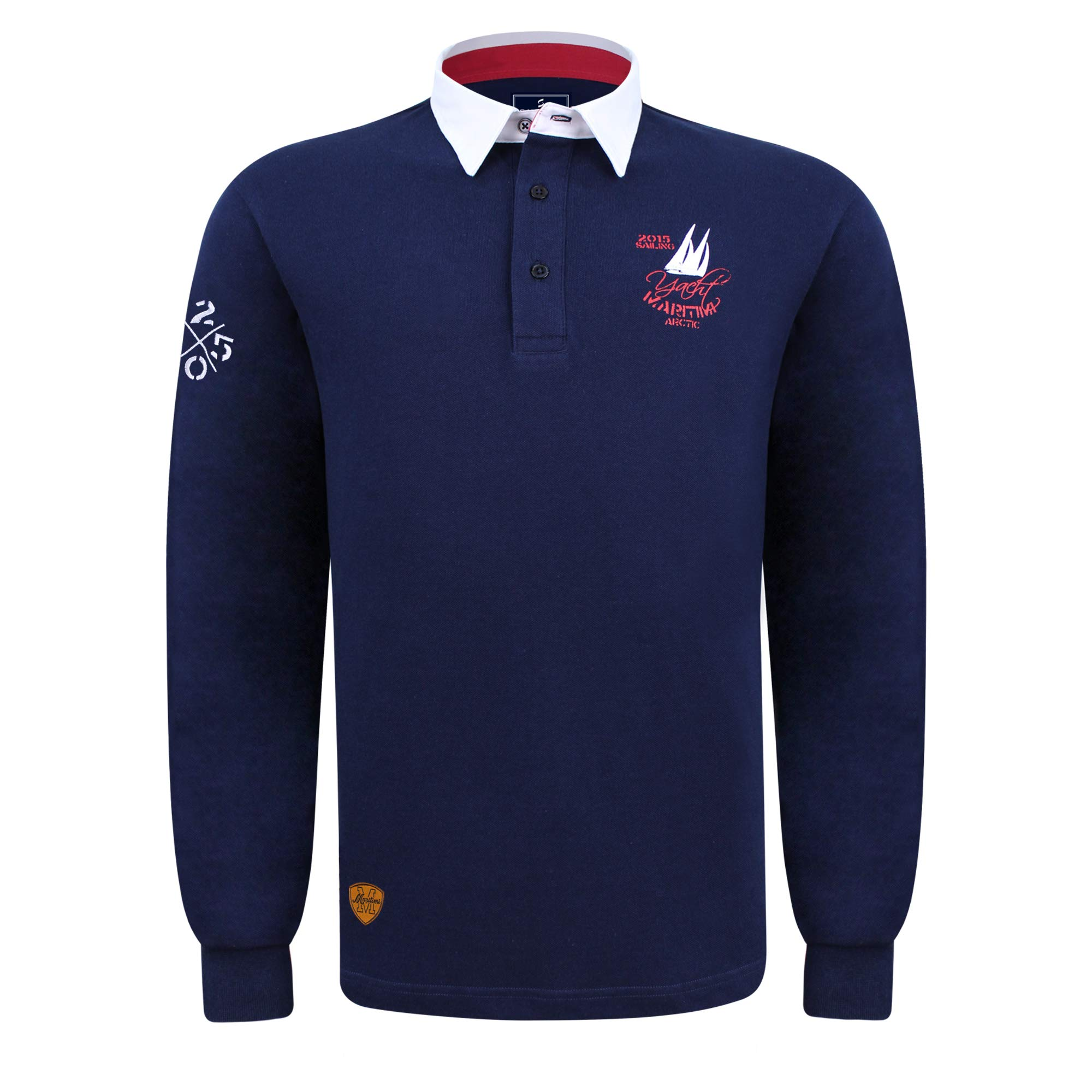 SAVALINO Men's Long Sleeve Polo Sailing Rugby Shirt with Twill Collar, Piquet Cotton, Sports & Leisure Wear, Size XS-3XL