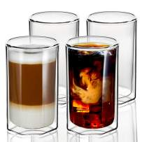 ZENS Double Walled Glasses,Unique Octagonal 11.8 oz Insulated Coffee Mugs Set of 4, Clear Borosilicate Glass Cups for Cappuccino or Latte Macchiato