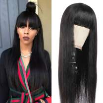TIANTAI Brazilian Straight Human Hair Wigs with Bangs Unprocessed Virgin Straight Hair Wigs For Black Women 150% Density None Lace Front Wigs Glueless Machine Made Hair Wigs 18 Inch
