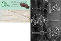 Cybrtrayd Baptism Lolly Chocolate Candy Mold with 25 4.5-Inch Lollipop Sticks and Exclusive Cybrtrayd Copyrighted Chocolate Molding Instructions