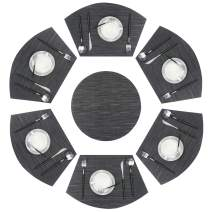 pigchcy Wedge Shape Placemat Set of 6 Placemats and Round Table Mats Washable Vinyl Placemats Heat-Resistant Table Mats (Dark Grey Mix Black)