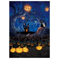 Funnytree 5x7ft Halloween Themed Photography Backdrop Moon Night Spooky Forest Pumpkins Lantern Background Haunted House Baby Adult Portrait Party Decoration Photo Studio Booth