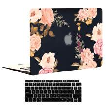 EkuaBot Pink Flower MacBook Air 13 inch Case & Keyboard Cover (A2337 M1/A2179/A1932, 2018-2020 Release), Hard Case Only Compatible New MacBook Air 13.3 with Retina Display & Touch ID