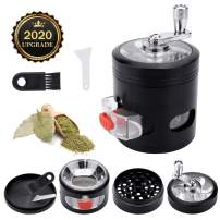 Herb Grinder, Yokilly 4-Piece Black Spice Grinder with Pollen Catcher, Zinc Alloy Manual Grinder with Handle, Clear Top Grinder with Drawer, 2.5 Inches Grinder Hand Cranked