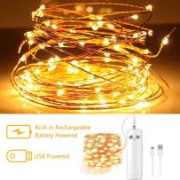 LED Fairy String Lights Rechargeable Battery Operated,16ft/50 LED mini Battery Powered Twinkle Firefly Lights Small Decorative String Lights for Bedroom Party Centerpiece Wreath Indoor(Warm White)