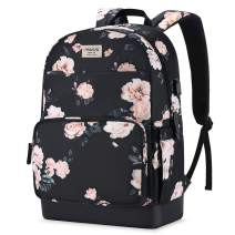MOSISO 15.6-16 inch Laptop Backpack, Water Repellent Anti-Theft Stylish Casual Daypack Bag with Luggage Strap & USB Charging Port, Travel Business College School Bookbag for Women Girls, Apricot Peony