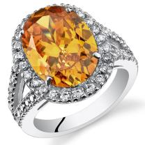5.25 Carats Oval Cut Citrine Engagement Ring In Sterling Silver Sizes 5 to 9