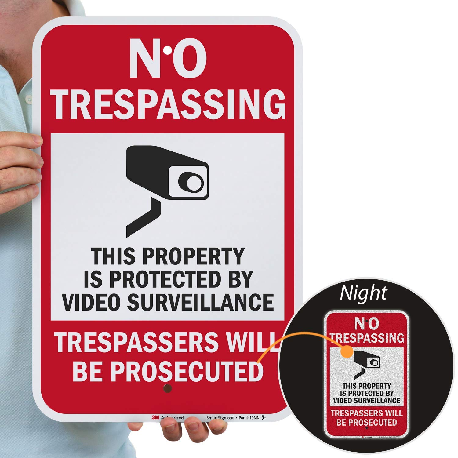 """SmartSign""""No Trespassing - This Property is Protected by Video Surveillance"""" Sign 
