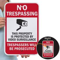 "SmartSign""No Trespassing - This Property is Protected by Video Surveillance"" Sign 