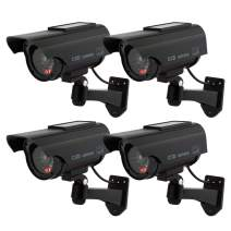 TOROTON Bullet Dummy Fake Surveillance Security CCTV Solar Powered Camera Simulation Monitor with LED Flashing Light, Outdoor and Indoor Use for Homes & Business, 4 Pack