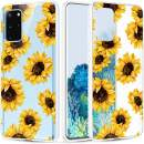 Caka Flower Case for Galaxy S20 Plus Clear Bling Glitter Case Slim Soft Flexible Sunflower Floral Transparent Protective Fashion for Women Girls Case for Galaxy S20 Plus 5G (Sunflower)