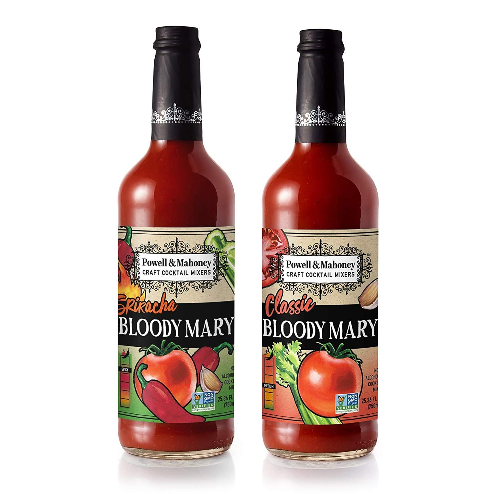 Powell and Mahoney Craft Cocktail Mixers - Classic Bloody Mary and Sriracha Bloody Mary - Non-Alcoholic Cocktail Mix - 750ml - Non-GMO