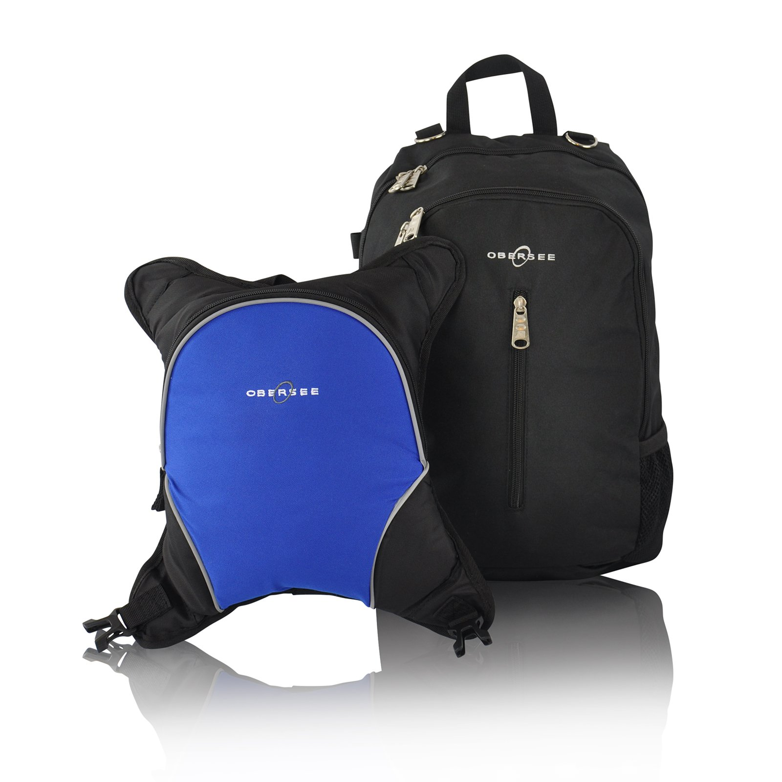 Rio Diaper Backpack with Baby Bottle Cooler and Changing Mat, Shoulder Baby Bag, Food Cooler, Clip to Stroller (Black/Royal Blue) - Obersee