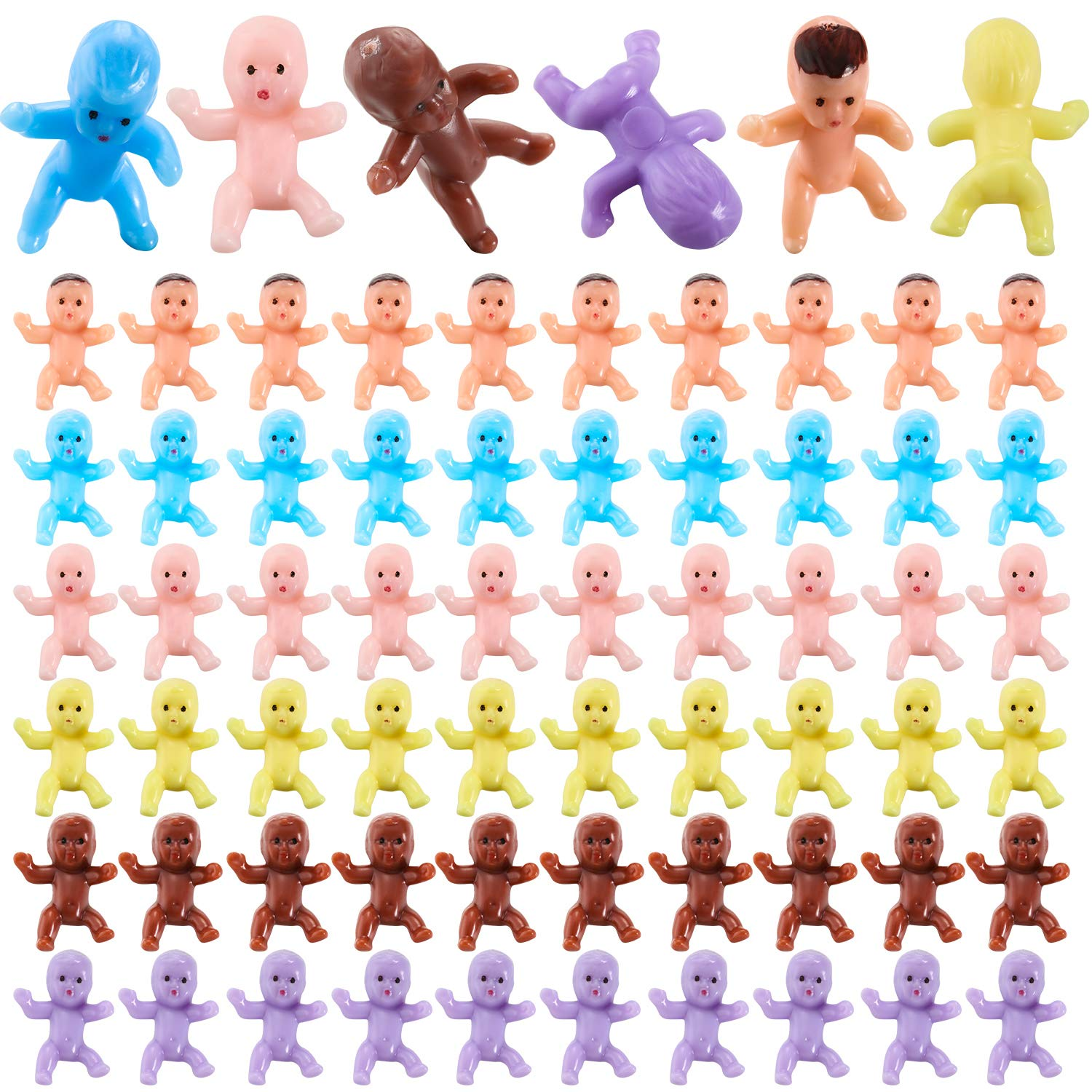 360 Pieces Mini Plastic Babies Tiny Baby Dolls for Ice Cube Game Party Decorations Baby Shower Party Favors Full Moon Gifts (Latin, Dark Brown, Pink, Yellow, Purple, Blue)