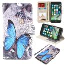 UrSpeedtekLive iPhone 7/iPhone 8/iPhone SE 2020 Premium PU Leather Funny Pattern Flip Wallet Case Cover w/Card Slots & Stand for iPhone SE 2020, iPhone 7/8 4.7 Inch,Blue Butterfly