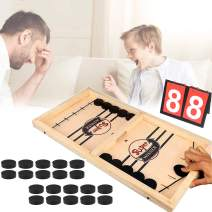 Fast Sling Puck Game Desktop Battle Sling Games Wood Board Chess Games with Scoreboard Parent-Child Interactive Desktop Slingshot Games Toy for Adults and Kids at Family Party