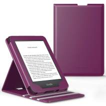 MoKo Case Fits All-New Kindle (10th Generation, 2019) / Kindle (8th Generation, 2016), Anti-Scratch Vertical Flip Cover Shell with Auto Wake/Sleep Function - Purple