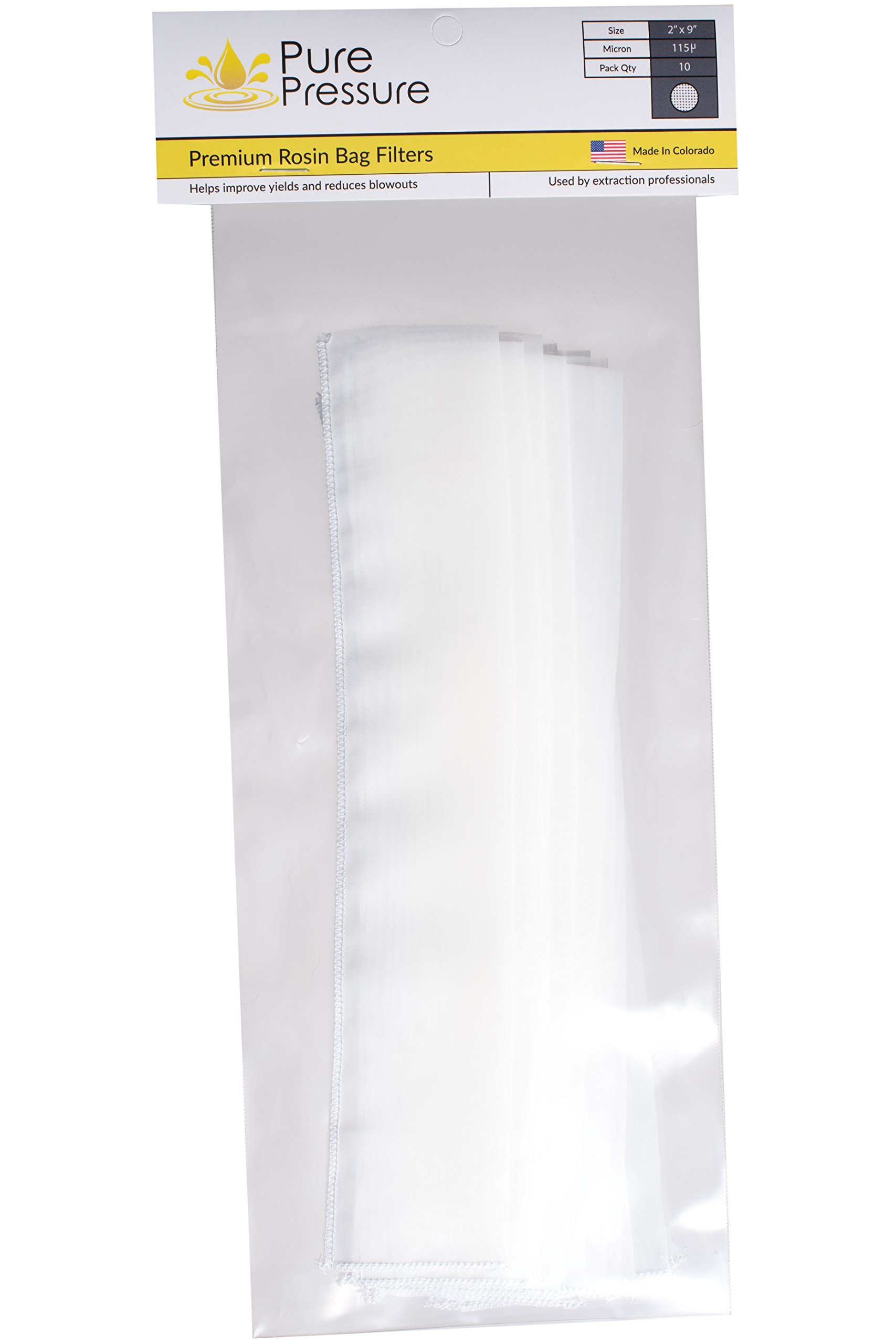"""PurePressure Premium Solventless Rosin Filtration Extraction Press Bags 115 Micron - 2"""" x 9"""" (10 Pack) Made in Denver, Colorado"""