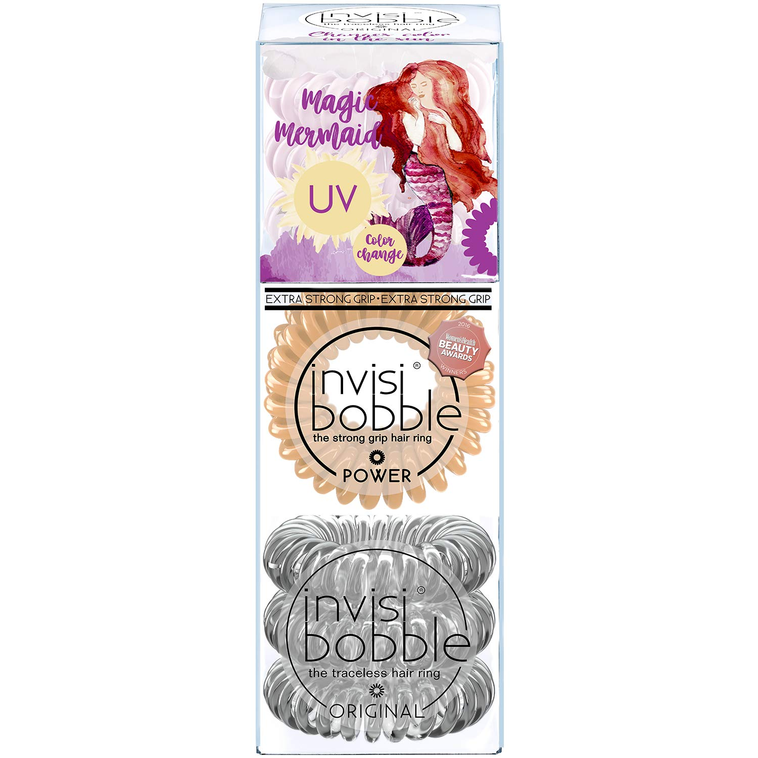 invisibobble Original and Power Traceless Spiral Hair Ties - Pack of 9 - Clear Nude and Purple - Elastic Band with Strong Grip, Non-soaking, Hair Accessories for Women