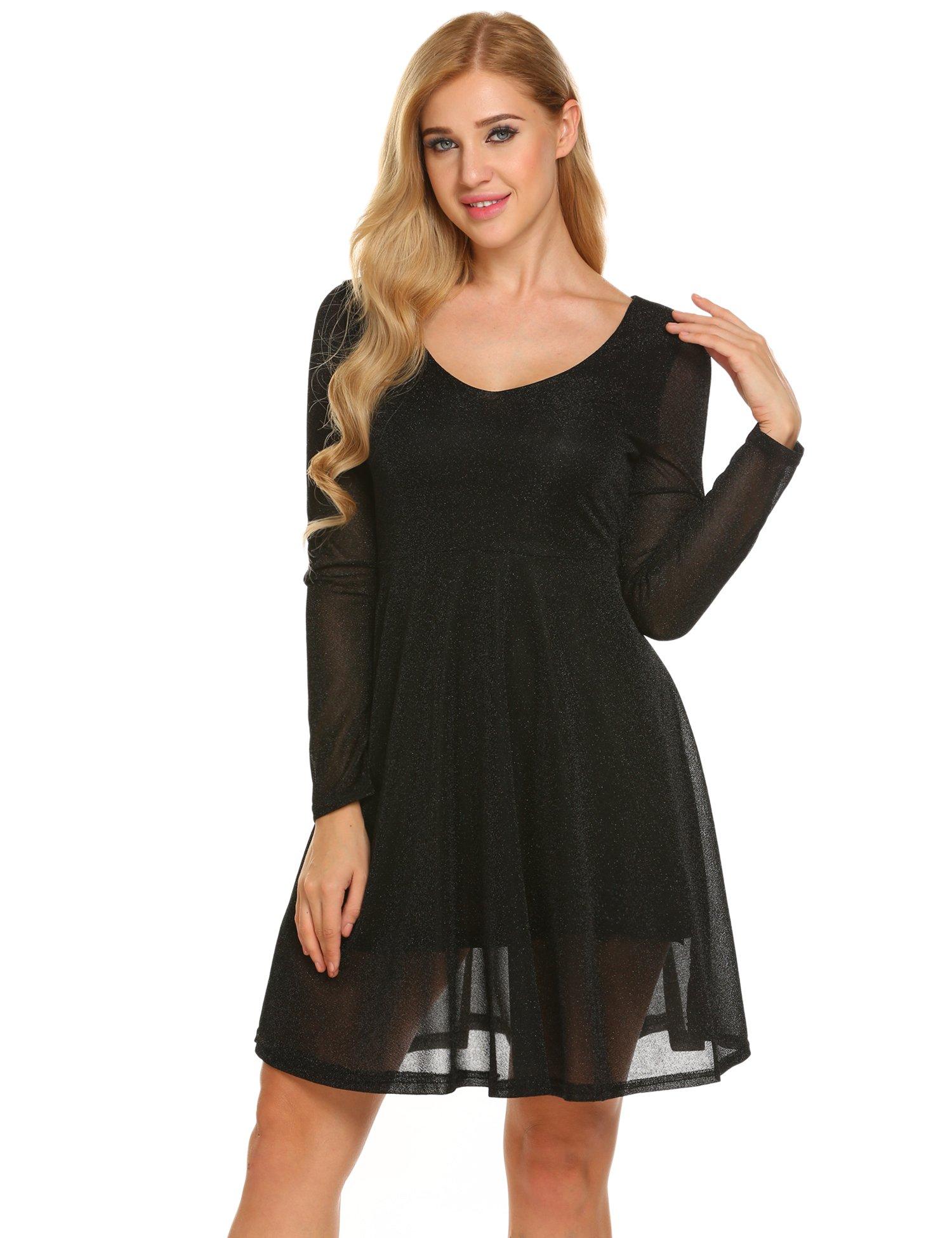 Zeagoo Womens Scoop Neck Long Sleeve A Line Swing Party Dress