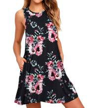 BISHUIGE Women Summer Casual Round Neck T Shirt Dresses Beach Cover up Plain Tank Dress