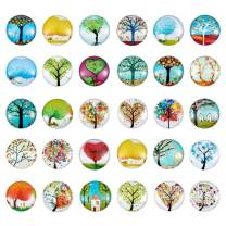 Pandahall 50pcs Tree of Life Printed Half Round Flat Back Glass Cabochons 1 Inch (25mm) for Christmas Jewelry Making