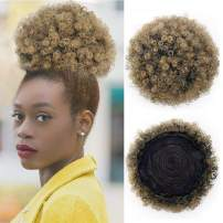 AISI QUEENS Puff Afro Ponytail Drawstring Short Afro Kinky Curly Pony Tail Clip in on Synthetic Curly Hair Bun Puff Ponytail Wrap Updo Hair Extensions with Clips(T1B/27)