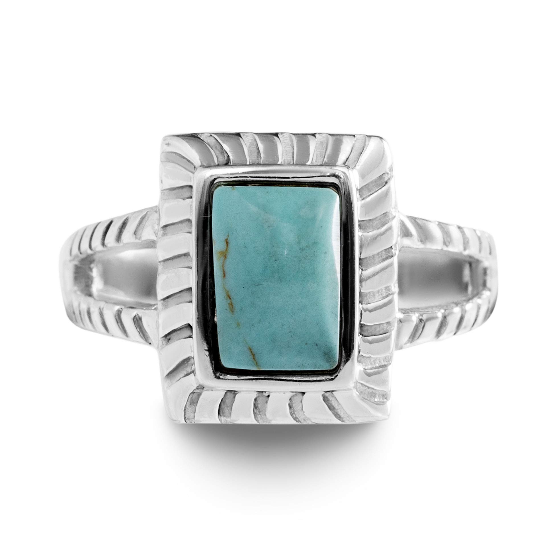 WILLOWBIRD Rhodium Plated Sterling Silver Simulated Turquoise Rectangle Split Shank Ring for Women (Various Sizes)
