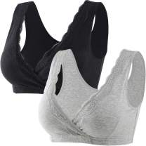 ZUMIY Maternity Nursing Sleep Bra for Breastfeeding, Lace Cotton Maternity Pregnant Tank Top