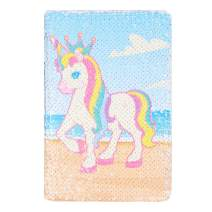 Unicorn Notebook,New A5 Notebook Color Reversible Sequin Unicorn Diary Notebook Magic Sequin Journal Rainbow Notebook DIY Painting Magic Daily Journal Notebook for Kids (Prince)